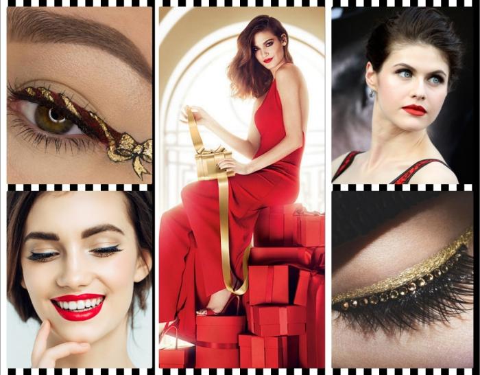 comment se maquiller les yeux, coiffure de cheveux attachés en chignon décontracté avec mèches, maquillage des yeux avec fards dorés et paillettes