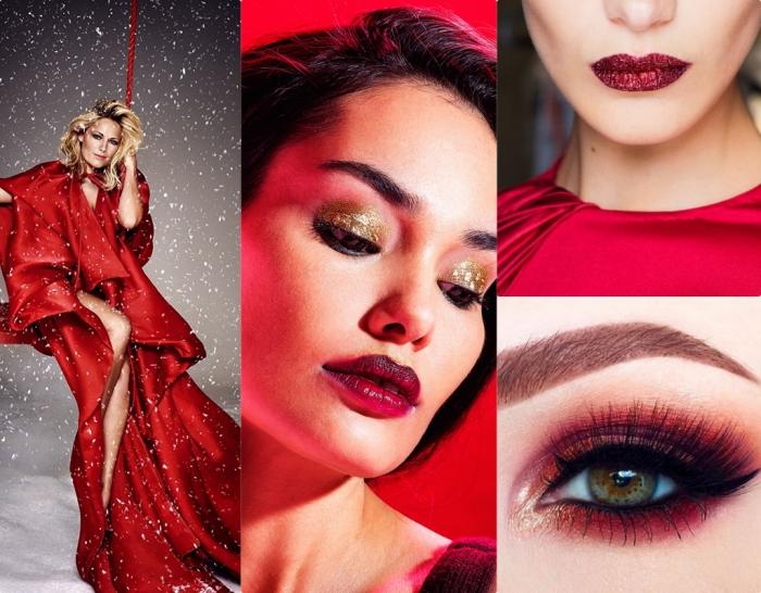 maquillage nouvel an, femme en robe rouge et cheveux blonds avec racines noires, maquillage à lèvres rouges et yeux en fards à paupières dorés