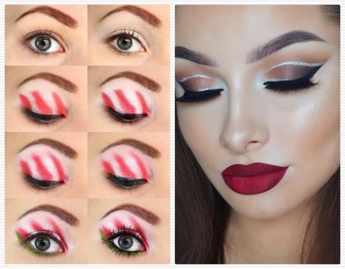 tutoriel pour se maquiller les yeux en couleurs de Noel avec fards à paupières blanc et crayon vert et rouge