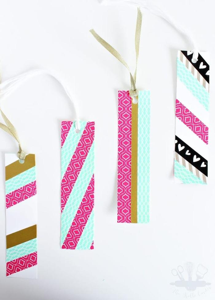 marque page en bande de papier custimisée de bandes de washi tape, cadeau a fabriquer pour sa meilleure amie qui aime la lecture