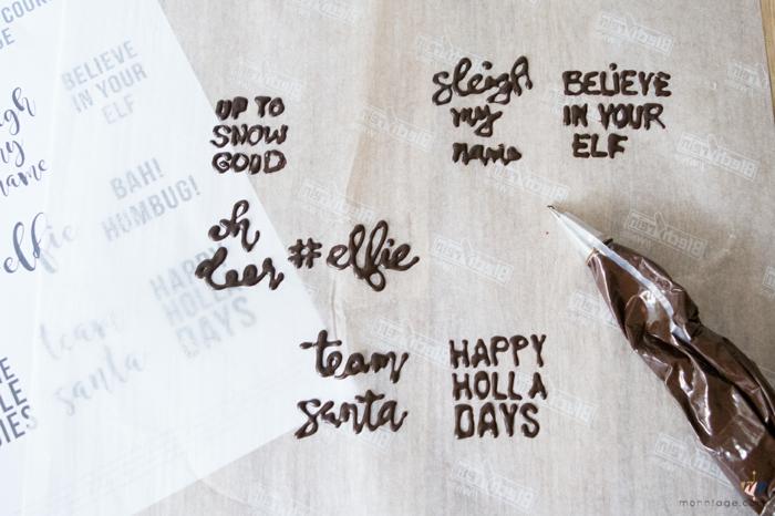 Cool idée marque place noel diy facile table de noël déco écrire les noms au chocolat sur biscuits de noel