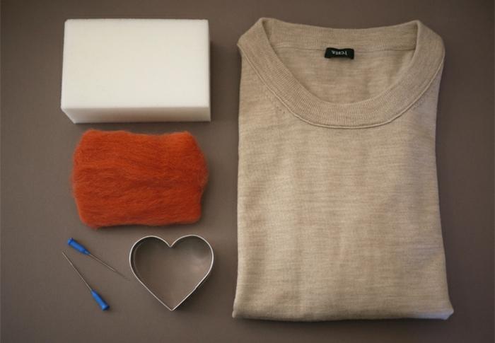 décorer un pull avec des applications en laine feutrée, créer de bonnes décorations pour ses vêtements