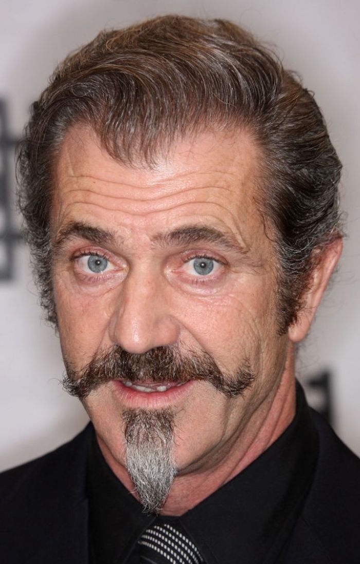 mel gibson barbe bouc en pointe et moustache impériale