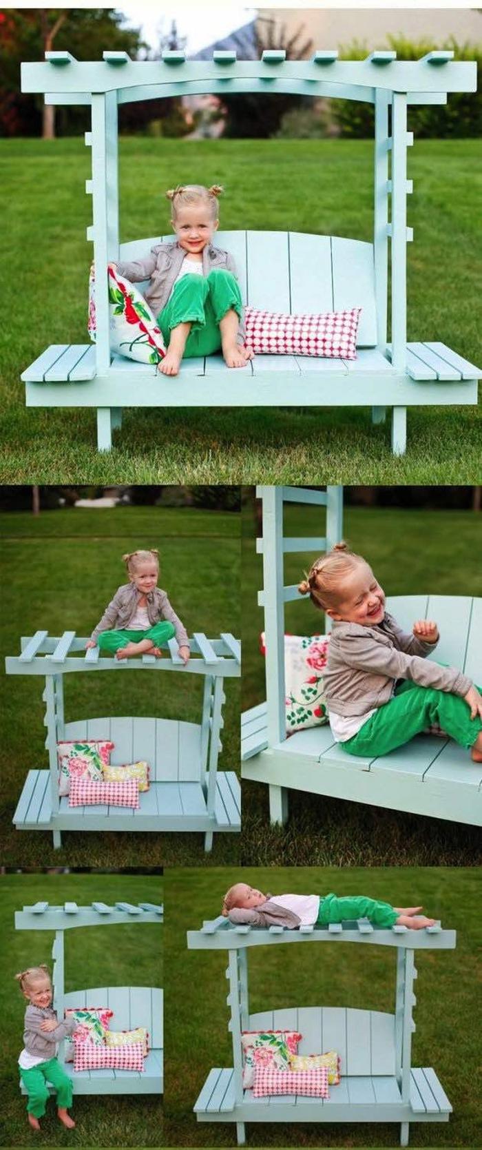idées originales pour fabriquer meubles jardin avec des palettes, un chouette pergola en palette pour enfant avec banc