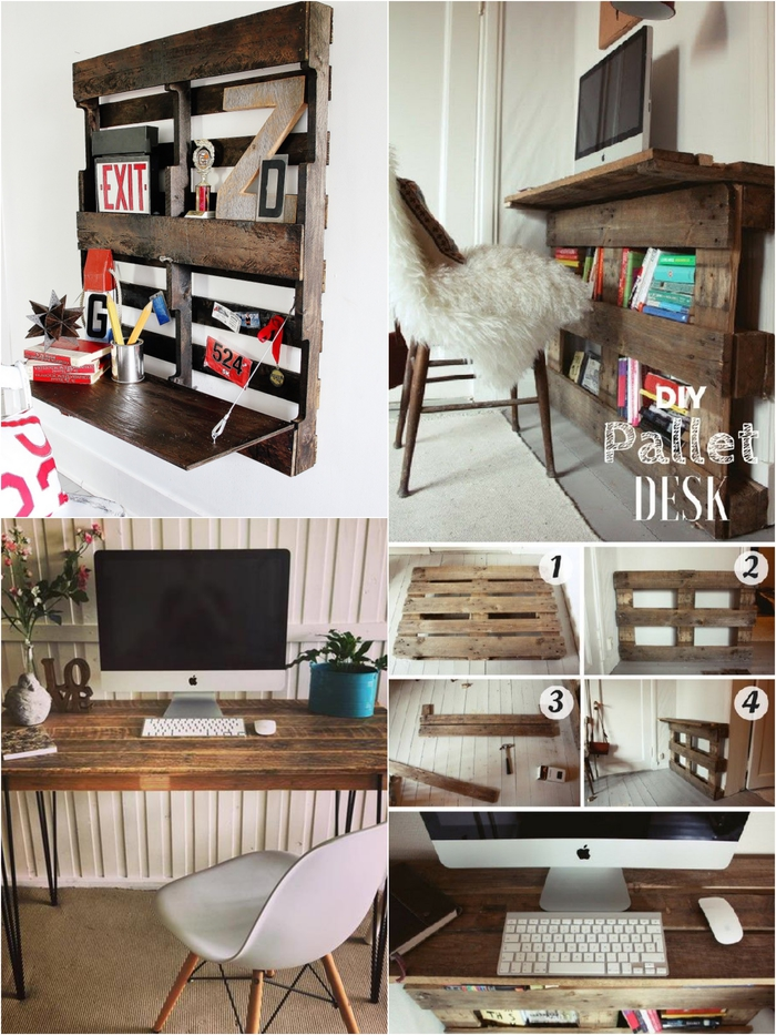 des meubles palettes gain de place aussi chic que fonctionnels, trois modèles de bureau en palette pour aménager un petit espace