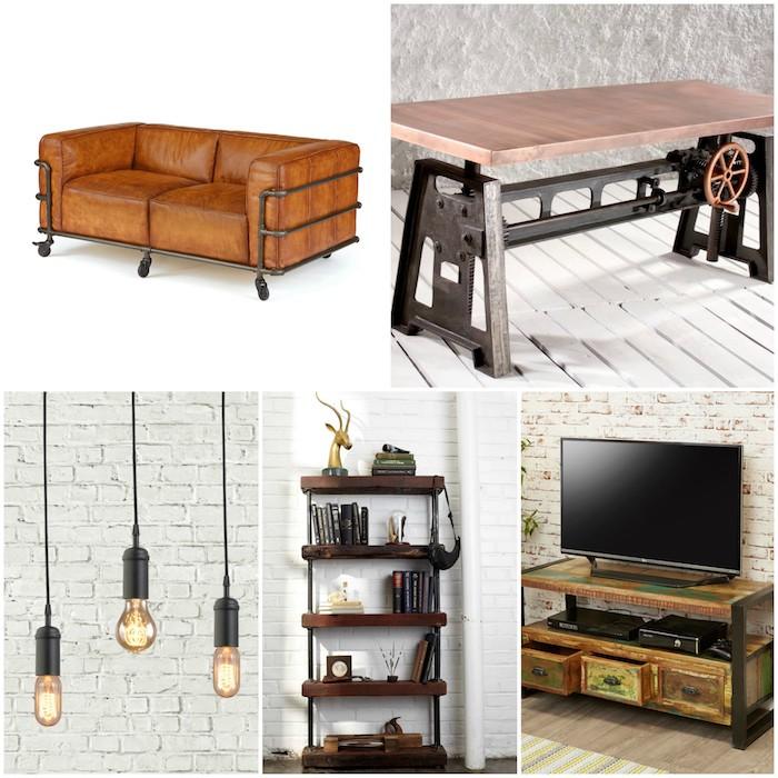 exemple de meubles industriels canapé en cuir noir et metal, table basse industrielle, ampoules electriques nues, etagere et meuble tv industriel