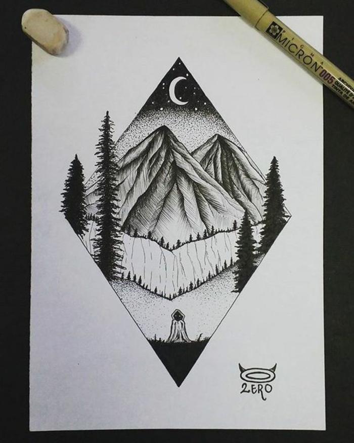 Comment dessiner un arbre facilemen dessiner des arbres paysage idée tatouage
