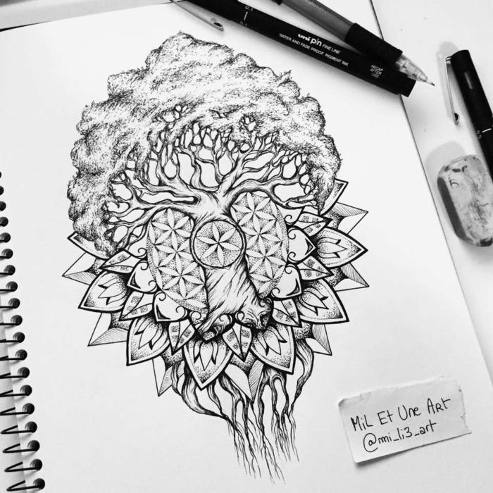 Arbre a dessiner beau dessin facil à réaliser dessin arbre de vie originale idée