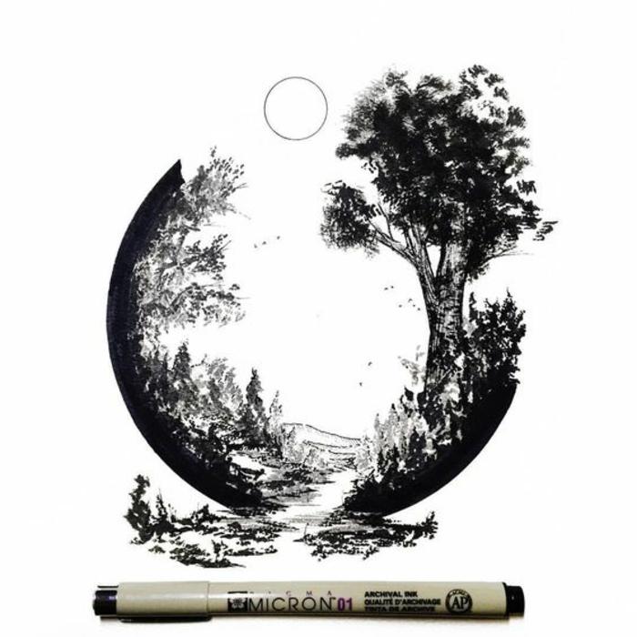 Comment dessiner une arbre apprendre a dessiner un arbre cercle paysage
