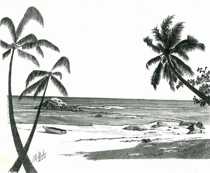 Dessin d arbre dessin au crayon noir arbre dessin beau plage paysage dessiner palme