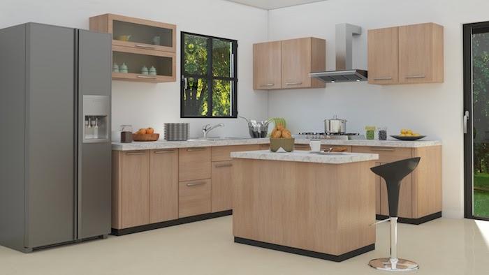 1001 astuces et id es pour am nager une cuisine en l - Modele de cuisine en bois ...