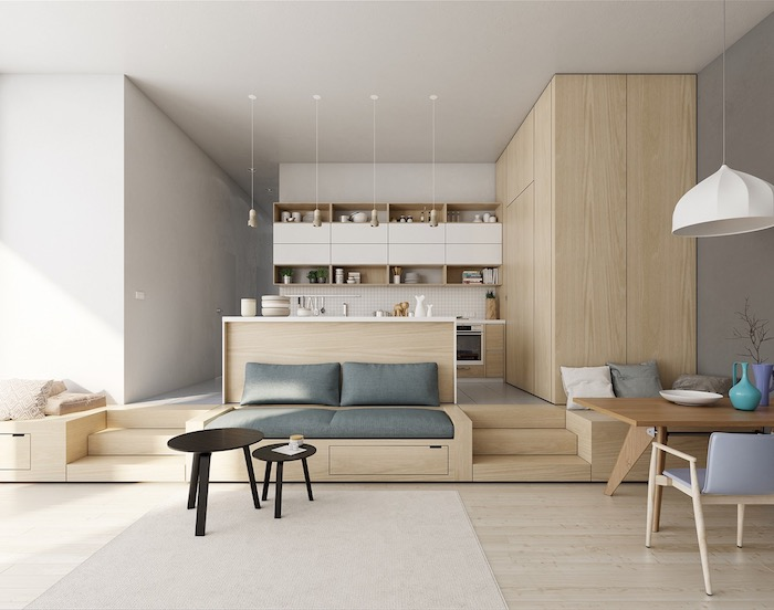 cuisine blanche et bois avec facade cuisine blanche, armoire bois etageres bois ouvertes, cuisine ouverte sur salon salle à manger, ambiance zen naturelle