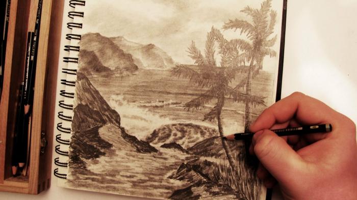 Image de l arbre de vie tronc d arbre dessin dessins arbres paysage océan plage dessin crayon noir