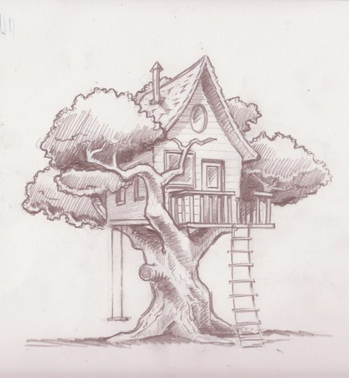 how to draw a treehouse step by step easy