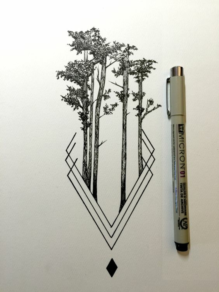 Idée dessin arbre simple dessin tronc arbre croquis arbre idée tatouage
