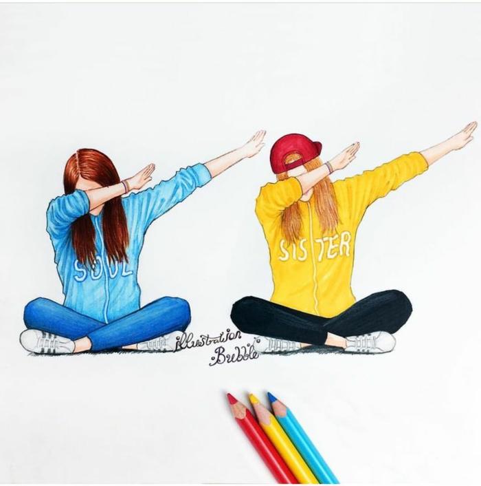 Adorable dessin d amie crayon dessin coloré carte