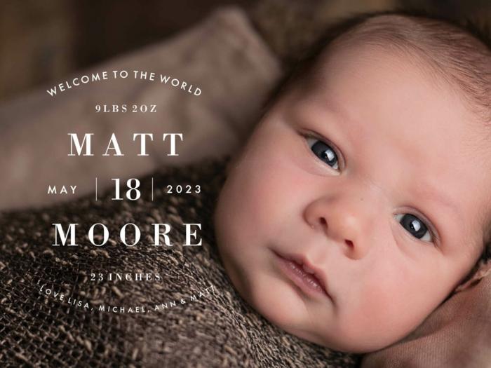faire part avec photographie, bébé mignon garçon, comment styler son faire-part