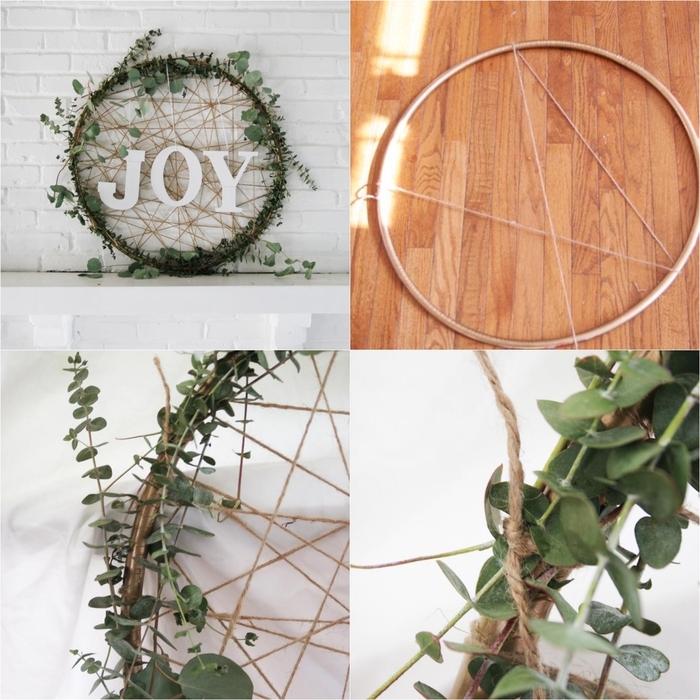 une couronne de noel a faire soi meme d'inspiration attrape-rêve décorée de branches d'eucalyptus