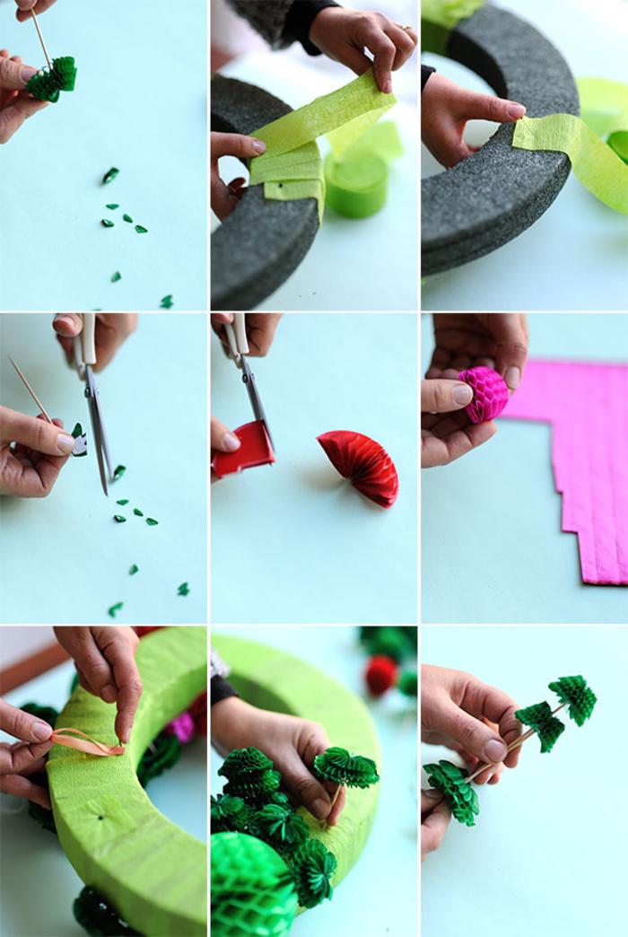 un pinterest bricolage original pour réaliser une déco de noël colorée en papier alvéolé, couronne de noël diy en