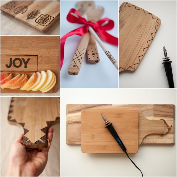 idée cadeau noel original et pas cher pour un homme qui aime cuisiner, une planche à découper en bois customisée avec la technique de la pyrogravure sur bois