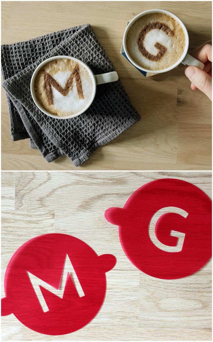 idées cadeaux pour le coffret cadeau café, des pochoirs pour café à réaliser soi-même
