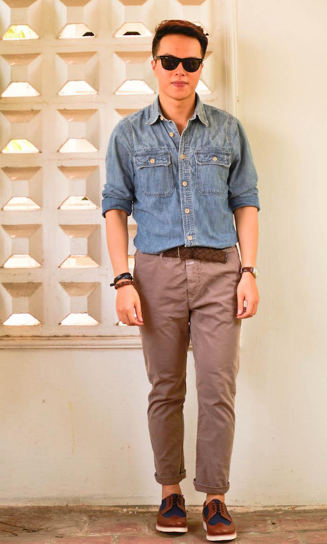 comment s habiller avec une chemise en jean homme chino marron