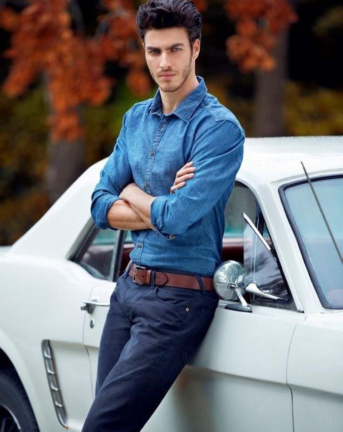 porter chino bleu marine chemise denim manches longues homme