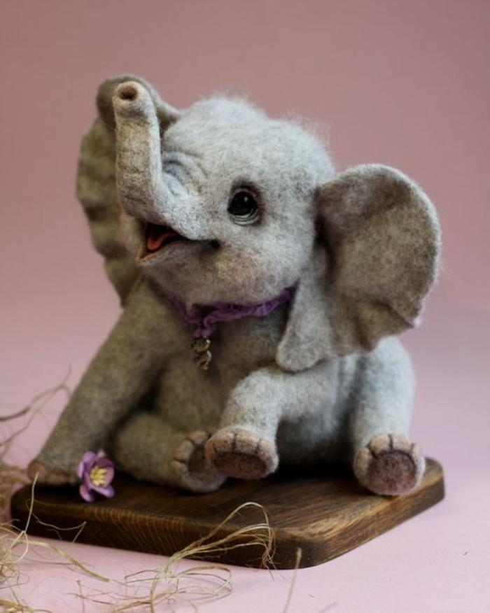 que fabriquer avec de la laine, éléphant en gris super détaillé et très joli