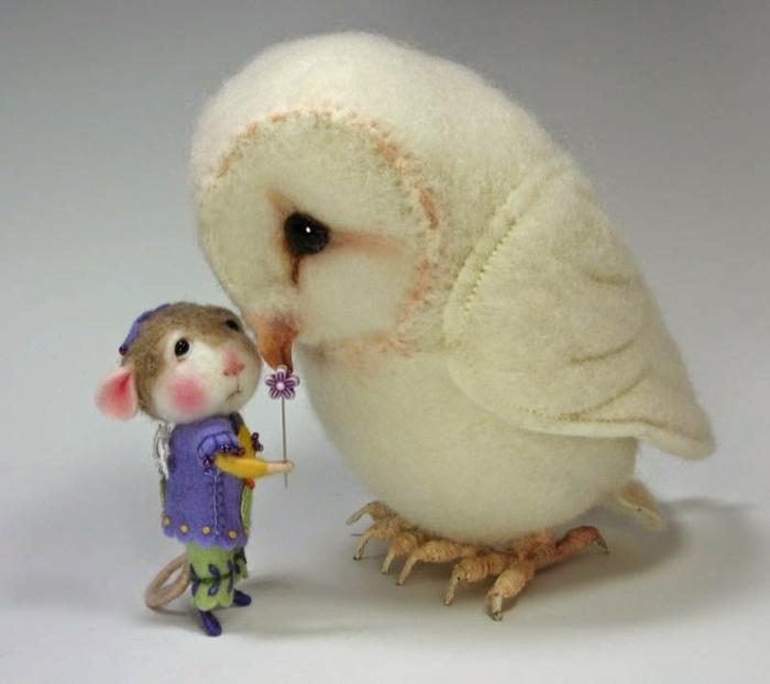 que faire avec de la laine, chouette blanche et petite souris sympathique