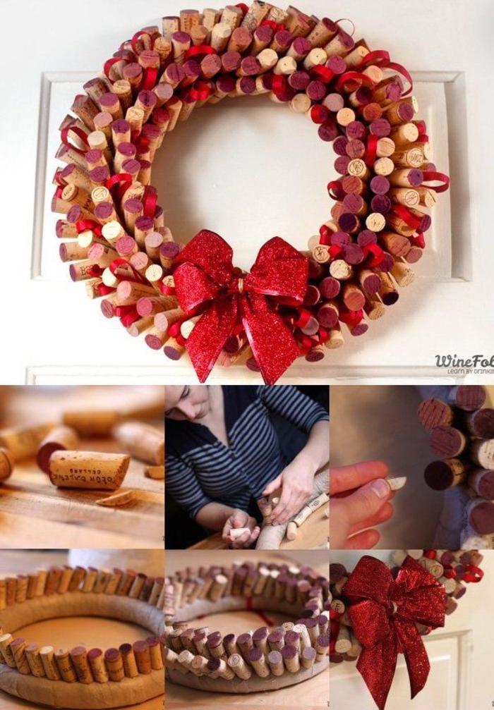 couronne de l avent récup originale en bouchons de liège, pinterest bricolage avec des bouchons de liège
