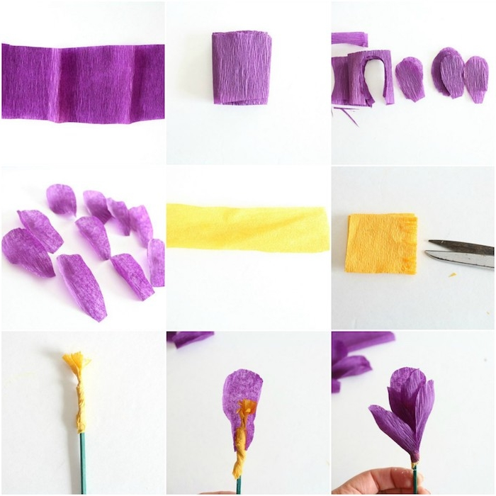 idée que faire avec du papier crépon, une fleure forestière en pétales vioelttes et centre jaune, technique de fabrication