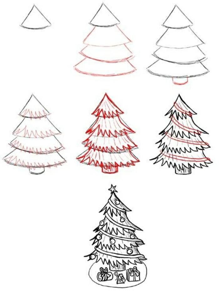 Comment faire un arbre de noel dessin de tronc d arbre et de couronne simple dessin