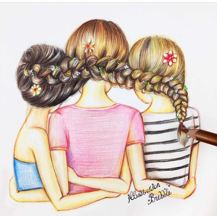 1001 + idées de dessin pour sa meilleure amie qu'elle va ...