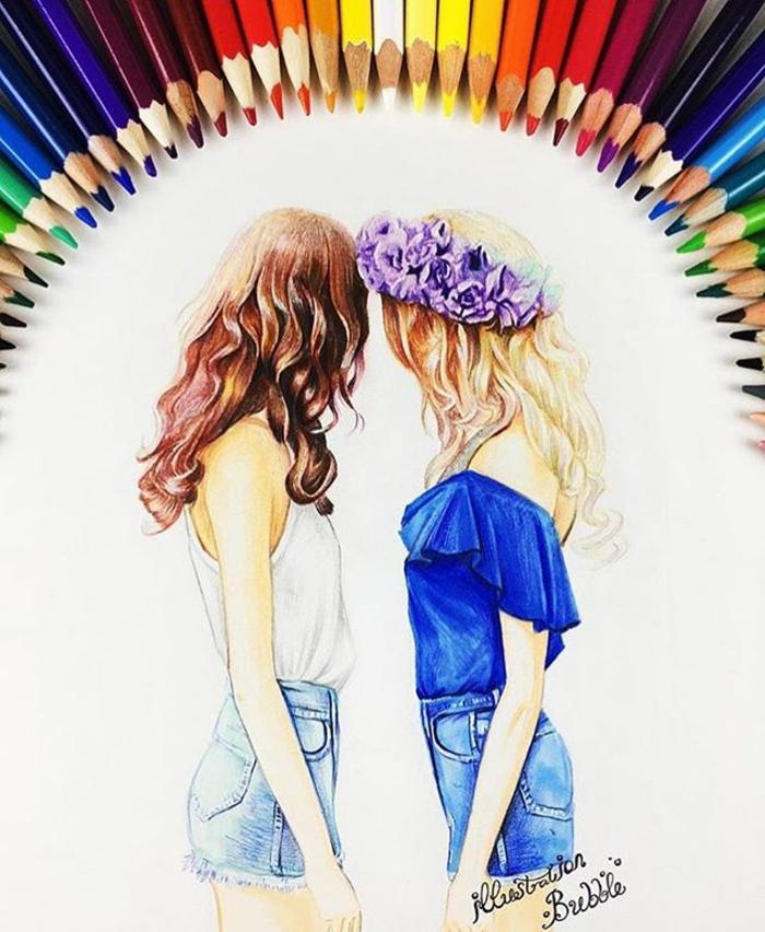 Belle image amie pour la vie meilleure ami dessin crayon coloré