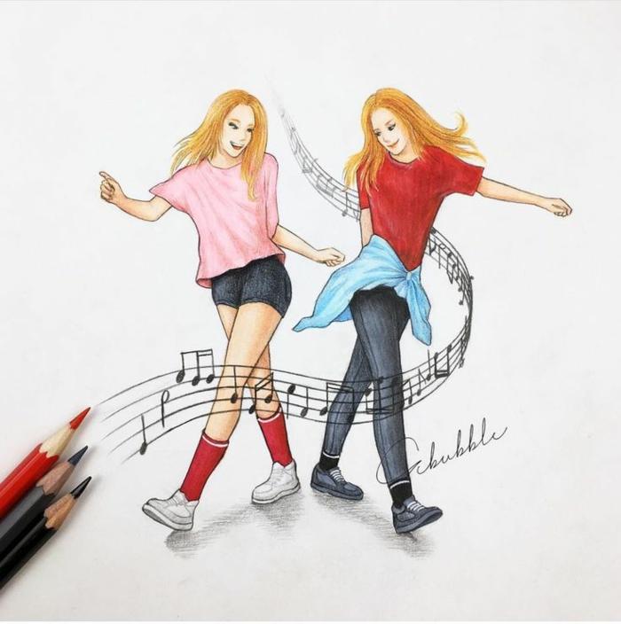Cadeau a fabriquer pour sa meilleure amie dessin à offrir musique amoureuses