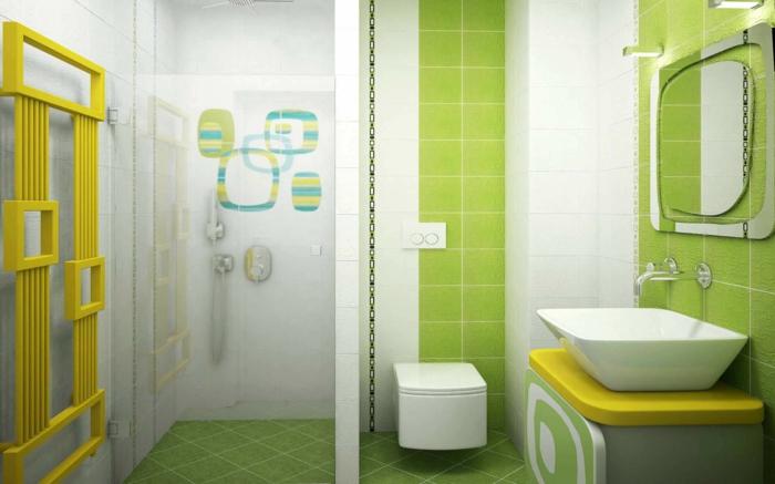 refaire une salle de bain, miroir extravagant, carrelage vert et blanc, décoration minimaliste