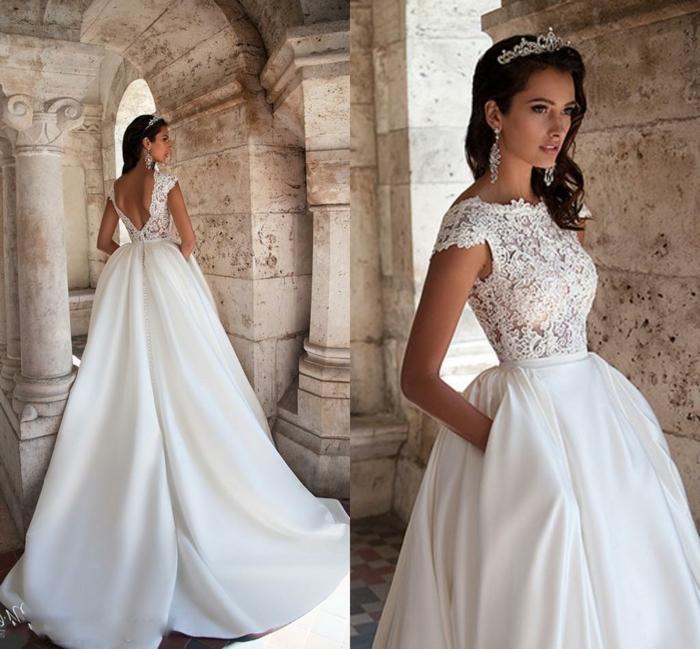 robe princesse disney, robe longue élégante, dos nu, bustier en dentelle, tiara cheveux