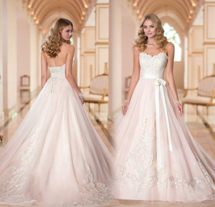robe de mariée cendrillon, dos nu, robe silhouette A, ceinture ruban, yaille soulignée