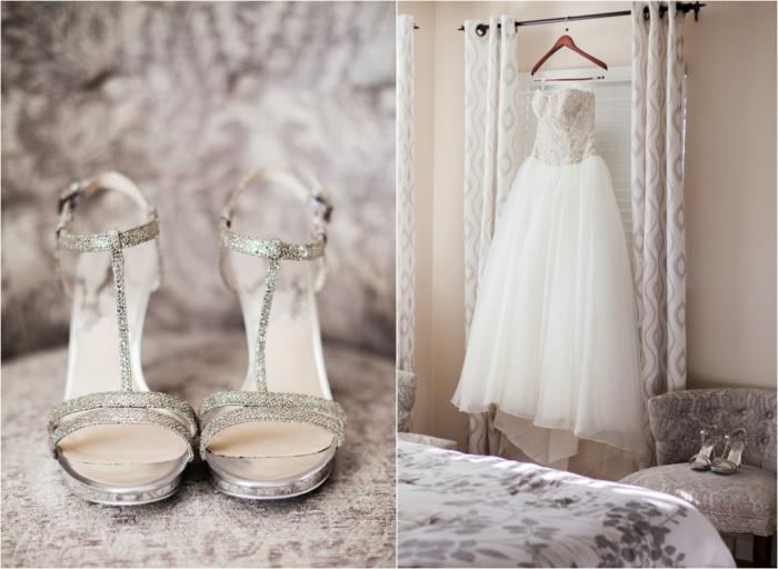 robe de mariée cendrillon, sandales hautes, robe rapoince avec bustier et jupe féérique