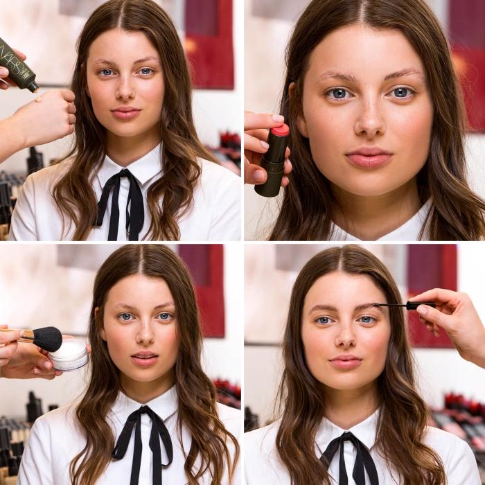 apprendre a se maquiller, étapes à suivre pour faire son maquillage en yeux smoky et lèvres rouges