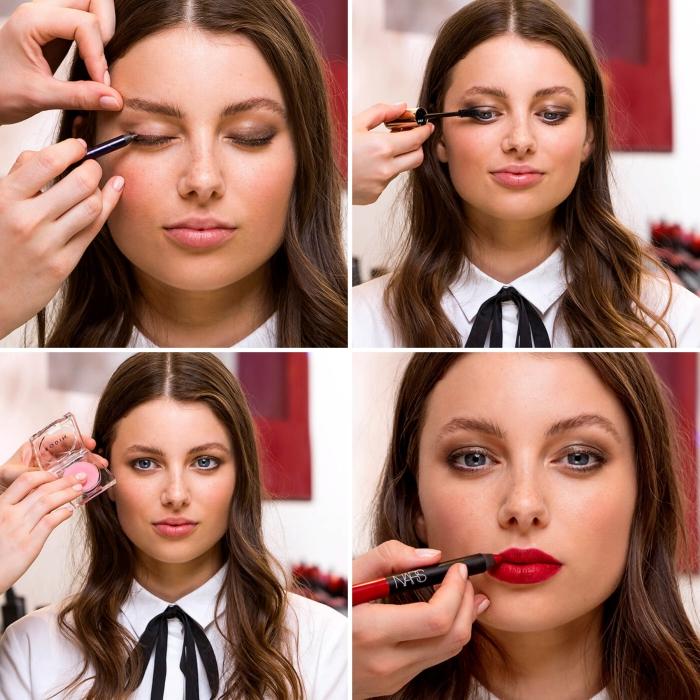 maquillage soirée, tutoriel en photo pour appliquer crayon et mascara noir, rouge à lèvres rouge matte avec base de baume rose