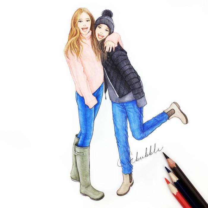 Dessin pour ma meilleure amie dessin ami dessin d amie hiver image habillé