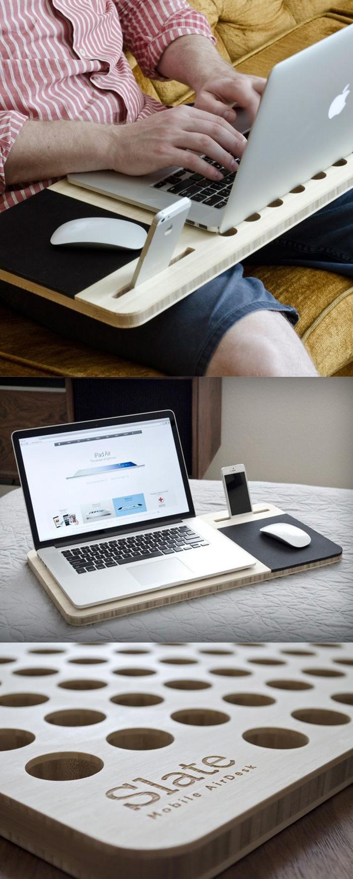 idees cadeaux pour un homme qui travaille de chez soi, support en bois pour ordinateur portable et téléphone pour les hommes organisés