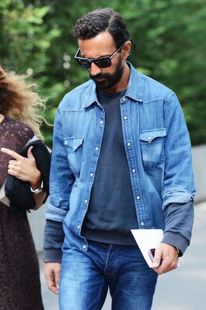 chemise ouverte homme en jean sweat jeans tenue denim