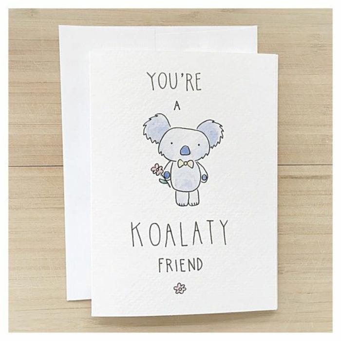 Carte de voeux dessin pour sa meilleure amie idée koala mignon carte de vouex