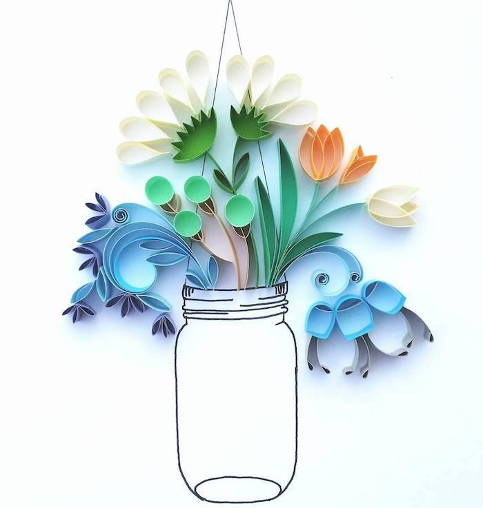 diy fleur en papier, plusieurs fleurs fabriquées grâce à la technique du quilling ou paperolles, bouquet dans un vase dessiné sur un bout de papier