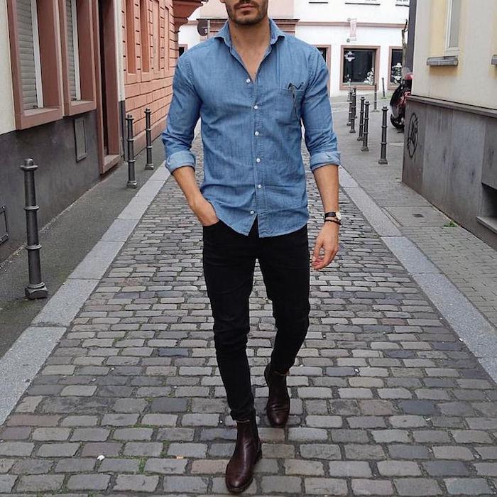 look chemise denim homme tenue casual chemise jean noir slim