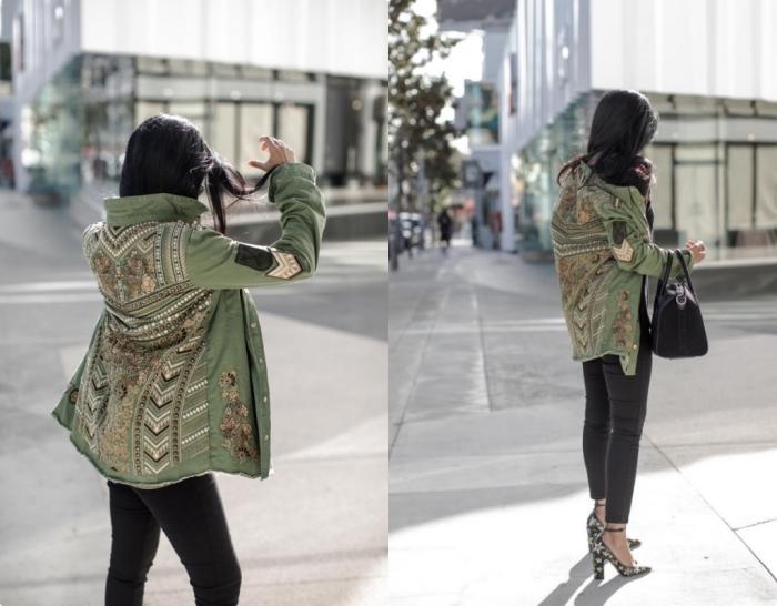 look veste kaki, vision élégante et chic avec pantalon slim et veste de décoration dorée combinés avec chaussures noires à étoiles dorées
