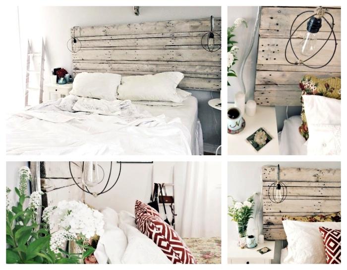 fabriquer une tete de lit en palette, idée comment aménager une chambre en style scandinave avec meubles de bois