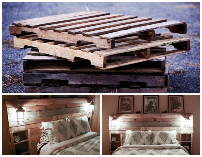 tuto tete de lit, comment utiliser les palettes pour faire un meuble de bois, chambre à coucher adulte avec photos et lampes